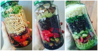 Salat im Glas Mittagessen mitnehmen