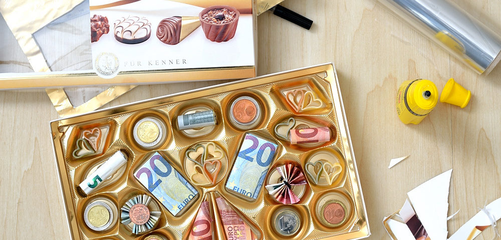 Pralines Monnaies Geldgeschenk Kreativ Verpacken Herbs Chocolate