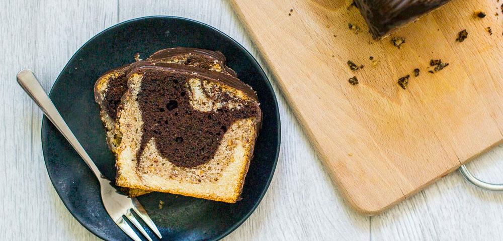 veganer Marmorkuchen dreifarbig