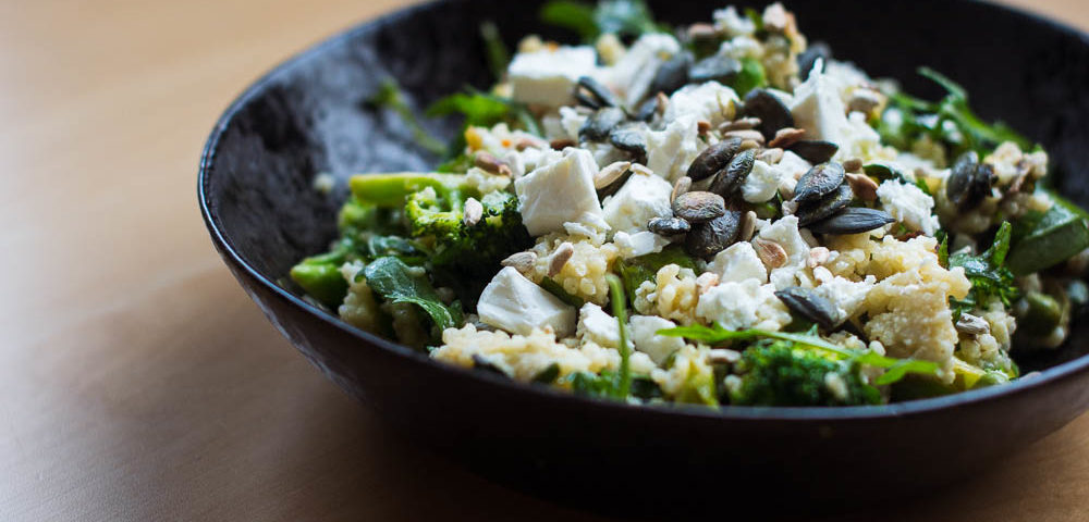 Hirsesalat mit Brokkoli Lauch und Feta